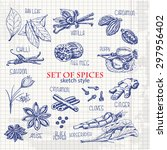 set of spices in sketch style... | Shutterstock .eps vector #297956402