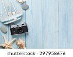 travel and vacation items on... | Shutterstock . vector #297958676