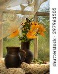 Orange Lily Bouquet On A Window ...