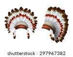 native american feathered... | Shutterstock .eps vector #297967382