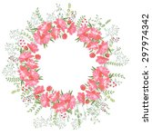 detailed circular wreath frame... | Shutterstock .eps vector #297974342