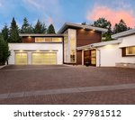 exterior of large  luxury home... | Shutterstock . vector #297981512