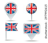 map pins with flag of united...   Shutterstock .eps vector #297992615