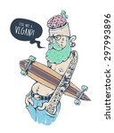 bizarre hipster character with... | Shutterstock .eps vector #297993896