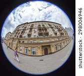 Small photo of MOSCOW, RUSSIA, on JULY 15, 2015. Garden ring, typical architecture, Fisheye view. A garden Ring - a ring of streets, one of symbols of the city and one of the most brisk thoroughfares