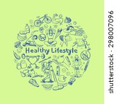 hand drawn healthy lifestyle... | Shutterstock . vector #298007096