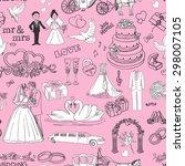 seamless pattern with wedding... | Shutterstock . vector #298007105