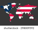 an illustrated map of the world ... | Shutterstock . vector #298009592