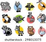 set of cute cartoon animals | Shutterstock .eps vector #298013375