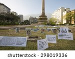 Small photo of CARACAS, VENEZUELA, APRIL 20: Photos and messages protesting against the political regime in Venezuela laying on the grass plaza de Francia, Caracas. Venezuela 2015