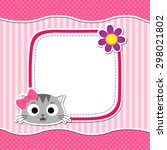 illustration with cute cat and... | Shutterstock .eps vector #298021802