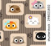 seamless pattern with cute cats.... | Shutterstock .eps vector #298021832