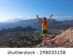 woman on hiking trail to... | Shutterstock . vector #298035158