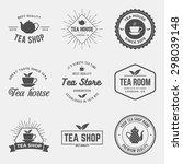 vector set of tea shop labels ... | Shutterstock .eps vector #298039148