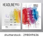 abstract hand drawn watercolor... | Shutterstock .eps vector #298049636