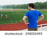 young sportsman runner in blue... | Shutterstock . vector #298052495