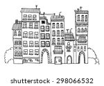 Funny Houses Sketch Ink Vector...