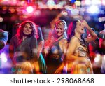 Stock photo party holidays celebration nightlife and people concept happy friends dancing in club with 298068668