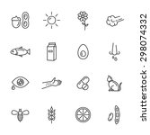 allergy thin line icons | Shutterstock .eps vector #298074332