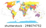 world map with countries ... | Shutterstock .eps vector #298074752
