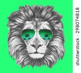 hand drawn portrait of lion... | Shutterstock .eps vector #298074818