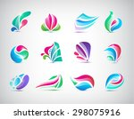 vector set of abstract colorful ... | Shutterstock .eps vector #298075916