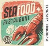retro seafood restaurant poster ... | Shutterstock .eps vector #298078766