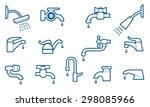 water tap or faucet line icons...   Shutterstock .eps vector #298085966