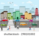 urban landscape. view of city... | Shutterstock .eps vector #298101002