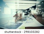 double exposure of businessman... | Shutterstock . vector #298103282