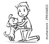 young man playing with the dog. ...   Shutterstock .eps vector #298106822