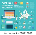 set infographics in flat style. ... | Shutterstock .eps vector #298110008