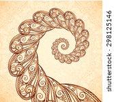 Vector Fractal Spiral In Henna...