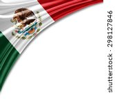 mexico  flag of silk with... | Shutterstock . vector #298127846