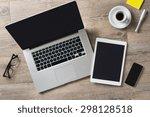 closeup shot of laptop with...   Shutterstock . vector #298128518