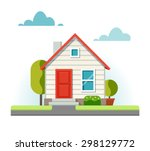 small house and the adjacent... | Shutterstock .eps vector #298129772