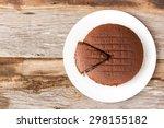 Chocolate Cake On White Plate....