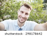man taking self portrait and... | Shutterstock . vector #298178642