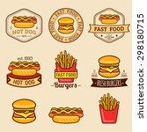 vector vintage fast food logos... | Shutterstock .eps vector #298180715