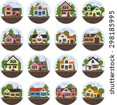 modern flat vector buildings... | Shutterstock .eps vector #298185995