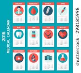 medical calendar for 2016 year  ... | Shutterstock .eps vector #298185998