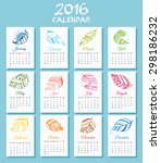 new 2016 year calendar with... | Shutterstock .eps vector #298186232