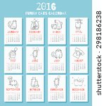 new 2016 year calendar with... | Shutterstock .eps vector #298186238