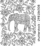 hand drawn elephant coloring... | Shutterstock .eps vector #298186508