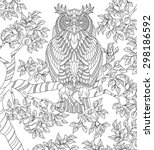 hand drawn owl coloring page | Shutterstock .eps vector #298186592