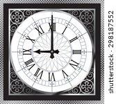 luxury white gold metal clock... | Shutterstock .eps vector #298187552