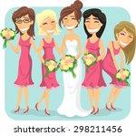 wedding bride and bridesmaids... | Shutterstock .eps vector #298211456