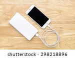 smartphone charging with power... | Shutterstock . vector #298218896