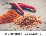 Chili Peppers On Rustic...