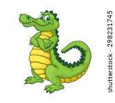 Happy Green Cartoon Alligator